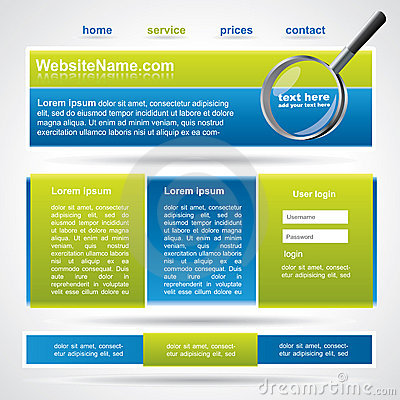 Editable website template, blue and green colors