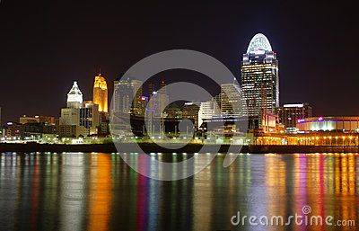 EDITORIAL Cincinnati Ohio at Night Editorial Photo