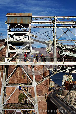 Editorial, construction workers above Hoover Dam Editorial Stock Image