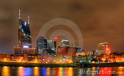 Editorial, Nashville Skyline at night Editorial Photography