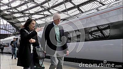 Editorial virgin pendolino train at liverpool united kingdom people departing train. In 4k stock footage