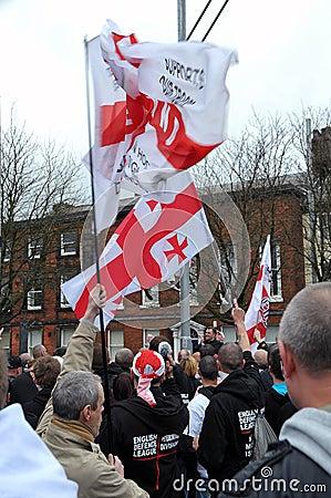 EDL Demo in Blackburn Editorial Stock Photo