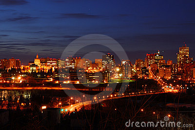 Edmonton downtown night scene