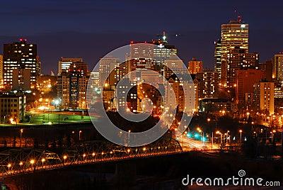 Edmonton downtown night scene