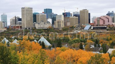 Edmonton, Kanada centrum miasta w spadku, timelapse 4K zdjęcie wideo