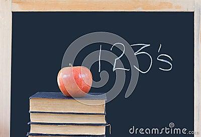 Education: 123 s on chalkboard, books, apple