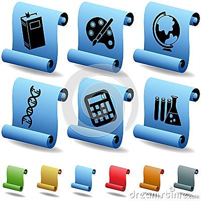 Education 3D Scroll Button Set