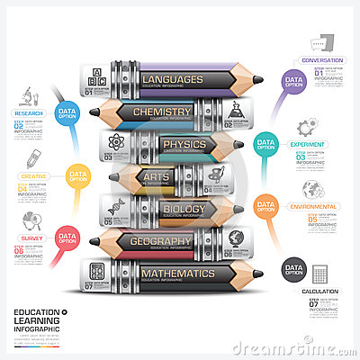 Free Education And Learning Subject Pencil Step Infographic Diagram Stock Images - 56108814