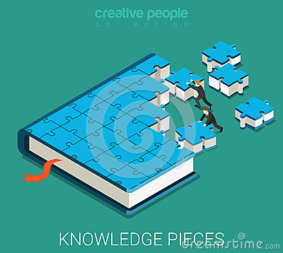 Free Education Book Of Puzzle Flat 3d Isometric Vector Royalty Free Stock Photography - 66251487