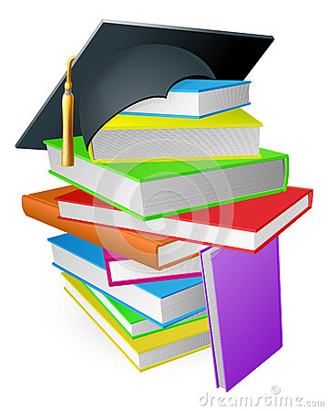 Education book pile graduation hat concept