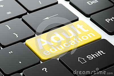 Education concept: Adult Education on computer