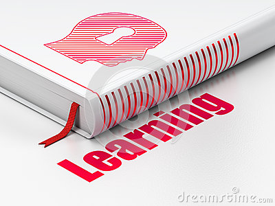 Education concept: book Head With Keyhole, Learning on white background