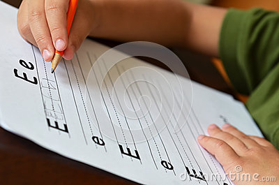 Education Concept With Child Learning To Write