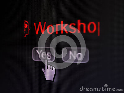 Education concept: Head With Gears icon and Workshop on digital computer screen