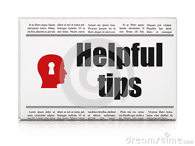 Education concept: newspaper with Helpful Tips and