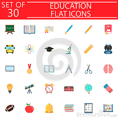 Education flat icon set, School sign collection Vector Illustration