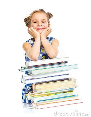 Free Education - Funny Girl With Books. Stock Photography - 24467222