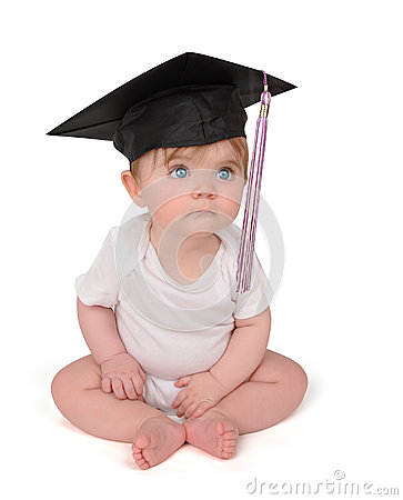 Free Education Graduation Baby On White Royalty Free Stock Photo - 25272615