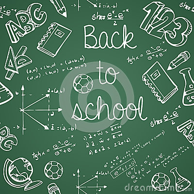 Education icons back to school green chalkboard seamless pattern