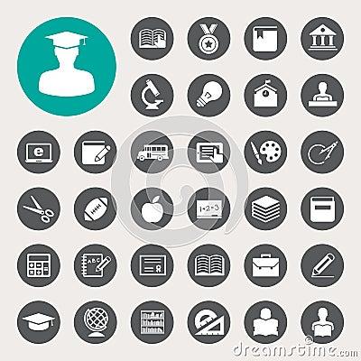 Free Education Icons Set. Illustration Royalty Free Stock Images - 31508069