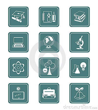 Free Education Icons | TEAL Series Royalty Free Stock Photography - 5941097