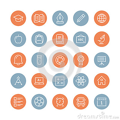 Education items flat line icons