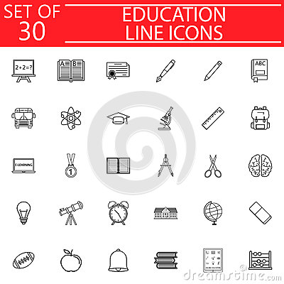 Education line icon set, School sign collection Vector Illustration
