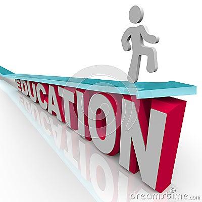 Education - Man Rides Arrow Over Word