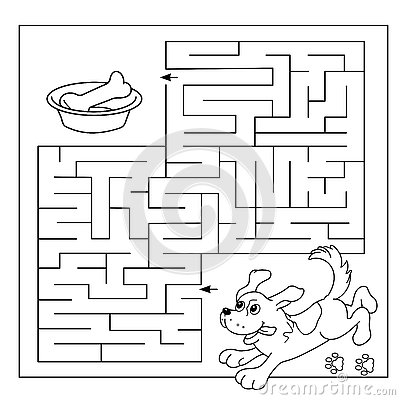 Education Maze Or Labyrinth Game For Preschool Children Puzzle Coloring Page Outline Of Dog With Bone Coloring Book For Kids Vector Illustration Cartoondealer Com 73927132