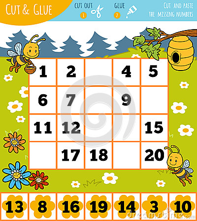 Education numbers game for children, Summer theme Vector Illustration
