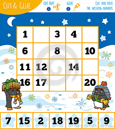 Education numbers game for children, Winter theme. Vector Illustration