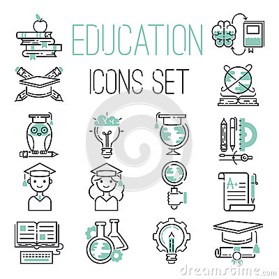 Free Education Outline Black School Symbol And Green Icons Set University Knowledge Thin Sign Graduation Graduate Learn Royalty Free Stock Photo - 88664025