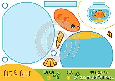 Education paper game for children, Aquarium Vector Illustration