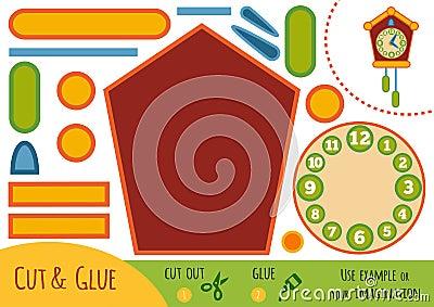 Education paper game for children, Cuckoo-clock Vector Illustration