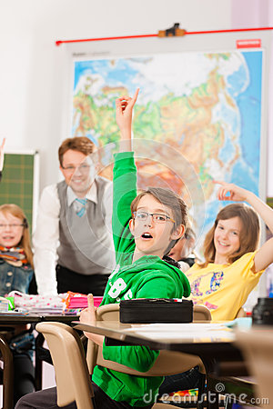 Education - Pupils And Teacher Learning At School Royalty Free Stock Photos - Image: 24771128