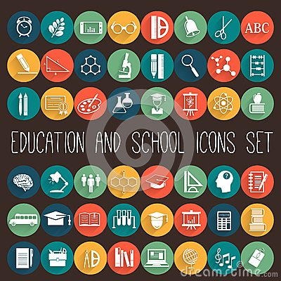 Free Education School Flat Icon Set Royalty Free Stock Photos - 43771868