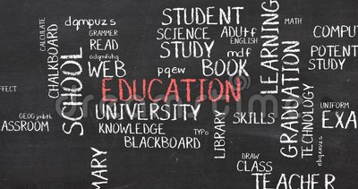 Education School and Training Word Cloud typography animation. Learning knowledge and skill development through school training and education blackboard word vector illustration
