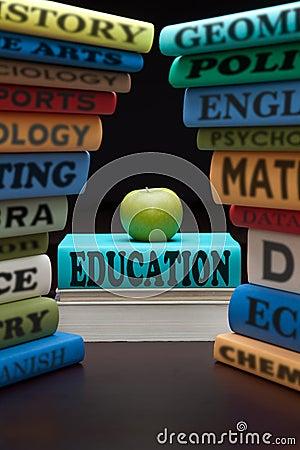Education study school books and apple