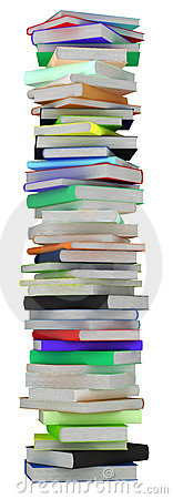 Education. Tall heap of hardcovered books
