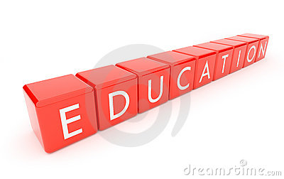 Education. The text on red 3d cubes. Isolated