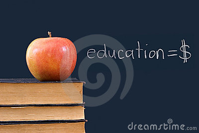 Education = $ - written on blackboard