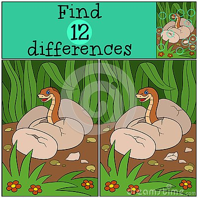 Free Educational Game: Find Differences. Baby Viper In The Egg Stock Photos - 141369273