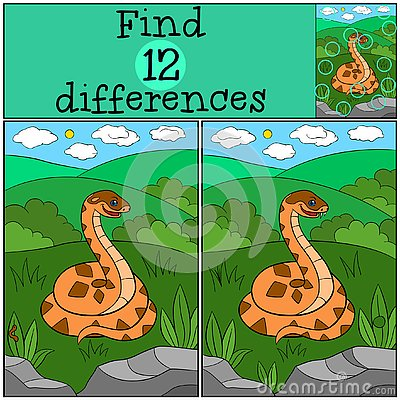 Free Educational Game: Find Differences. Cute Viper Smiles Stock Photos - 141369213