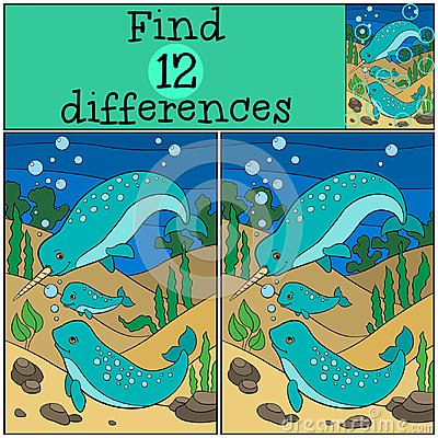Free Educational Game: Find Differences. Mother, Father And Baby Narw Stock Image - 121579921
