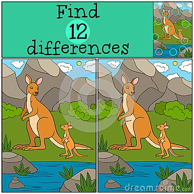 Free Educational Game: Find Differences. Mother Kangaroo With Her Bab Royalty Free Stock Photo - 116528725