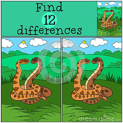Free Educational Game: Find Differences. Two Cute Vipers Stock Images - 141369244