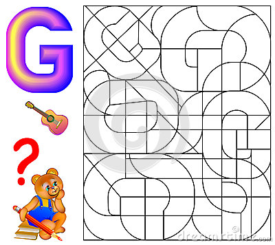 Educational page with letter G for study English. Logic puzzle. Find and paint 5 letters G. Vector Illustration