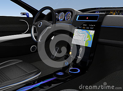 Eelectric car console UI design with map navigation screen Stock Photo