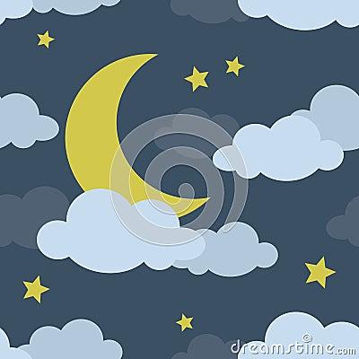 Het Naadloze Patroon van de Maan van de nacht