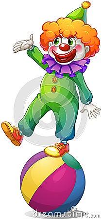 Een clown die zich boven de bal bevinden